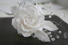 Bridal hair accessories, Rose comb, Bridal flower headpiece, Bridal flower comb, Bridal hair flower, Wedding decorative comb, flower comb