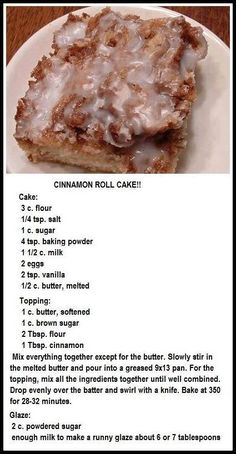 Cinnamon Roll Cake for dessert or brunch! 13 Desserts, Delicious Desserts, Yummy Food, Apple Dessert Recipes, Healthy Desserts, Healthy Recipes, Food Cakes, Cupcake Cakes, Cupcakes
