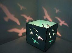 Wooden box lamp