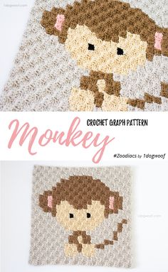 Make this cute monkey square with Lion Brand Vanna's Choice! Get the free C2C crochet pattern by One Dog Woof and check out the rest of her Zoodiacs animal zodiac series!