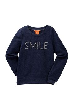 Beaded Smile Sweatshirt (Big Girls) (Little Girls