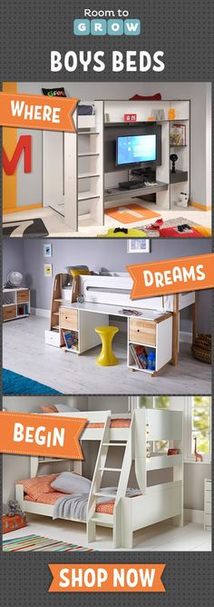 For the boys we've handpicked the very best beds from a huge range. Clever concepts and ingenious designs with space to sleep, study and play!