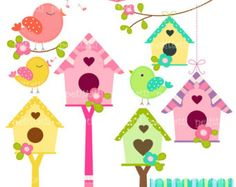 bird clip art, Digital clip art. for all use,Birds and Birdhouse, Birds, flowers,birdhouse, pink, blue