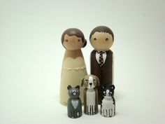 Custom Wedding Doll Wood Cake Toppers with 3 Pets/children. $70.00, via Etsy.