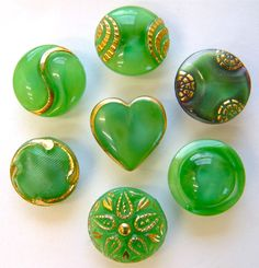 7 Vintage Green Moonglow Glass Buttons, Includes Heart & Black Moonglow