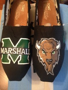 Marshall University Hand Painted Toms Shoes by ColorReimagined, $85.00