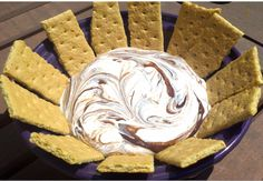 S'MORES DIP:  1 can (14oz) sweetened condensed milk, 1 pkg (12oz) chocolate chips, 1 tub (7oz) marshmallow cream.  Serve with graham crackers (or honey wheat pretzels, bananas, strawberries, etc.)  HINT: It's easier to put marsh cream in serving dish (that can go in oven to reheat) first, then put melted choc on top and swirl.