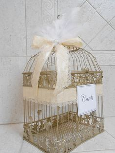 Large Champagne Gold Feather Wedding Birdcage Card Holder