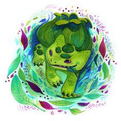 The original 151 pokemon re-made by 151 different artists!     Bulbasaur by Francesca Buchko  #pokemon #art #geek