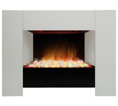 electric white surround pebble fire modern contemporary. Black Bedroom Furniture Sets. Home Design Ideas