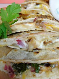 Leftover Chicken Quesadillas with Cool Cilantro dipping crema - Home - Sweetbites Blog