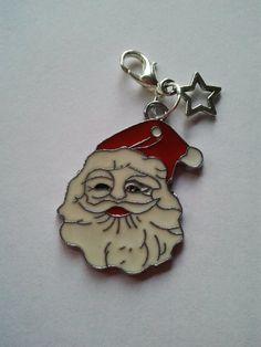 Enamel Santa Father Christmas charm clip on by CraftyBunnyDog