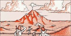 """""""The party has arrived at White Plume Mountain, which stands alone in a vast area of dismal moors and tangled thickets."""" (Erol Otus, from the monochrome back cover of 1979 printings of AD&D module S2 by Lawrence Schick.) Otus drew the same characters exploring different parts of the dungeon, accompanied by two other party members."""