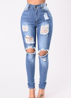 Fashion Nova has the best selection of women's high waisted jeans online. From high waisted flare jeans to high waisted skinny jeans and distressed denim to boyfriend high rise jeans, you'll find it all here. Cute Ripped Jeans, Ripped Skinny Jeans, High Jeans, High Waist Jeans, How To Make Ripped Jeans, Womens Ripped Jeans, High Waisted Distressed Jeans, Sexy Jeans, Cute Casual Outfits