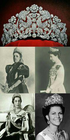 Tiara Braganza:Reina Sofia, Reina Victoria, Reina Luisa & Reina Silvia de Suecia