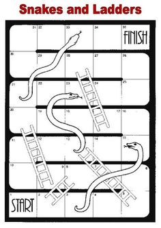 Here's a set of editable Snakes and Ladders boards for