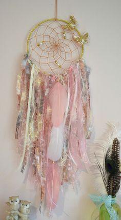 Dream Catcher Gray Pink, Butterfly Dream Catcher Nursery, Wall Hanging Dreamcatcher, Baby Shower Gift, Boho Baby Girl Nursery, Pink and Gold