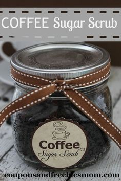 Homemade Coffee Sugar Scrub! Inexpensive yet luxurious gift idea! Quick and easy to make with only 4 ingredients! Check it out right now!