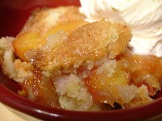 Quick and Easy Peach Cobbler  1 Cup Self Rising Flour  1 Cup Sugar  1 Stick Butter  ½ Cup Buttermilk  3-4 Cups Peaches (Sweetened)  Preheat oven to 450. Melt butter in a backing dish. Mix flour, sugar and milk then pour over melted butter. Pour in fruit last. Bake like bread until done. Crust will rise to the top.