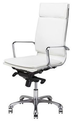 Carlo Office Chair in White Naugahyde by Nuevo - HGJL305