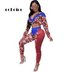 e655c40202b Echoine Women Jumpsuits Camouflage Print Patchwork V-neck Zipper Multicolor  Crop Tops Fashion Sports Slim Long Pants Rompers