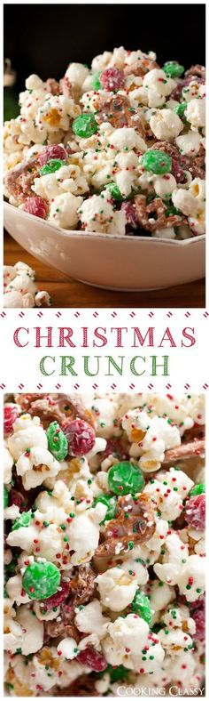 Christmas Crunch {Funfetti Popcorn Christmas Style} - this stuff is so easy to make and it's dangerously good! The white chocolate and the fluffy white popcorn is set off by the red and green candy bits | DIY Holiday Decor and Recipes