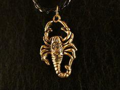Anhänger mit Kette 24 Karat Vergoldet Scorpion Skorpion Tier Gift
