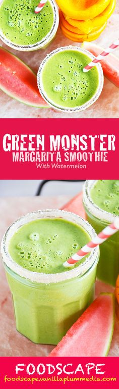 A watermelon smoothie that tastes like a margarita. Extra points for a full serving of veggies! The perfect poolside beverage or breakfast on-the-go. | Green Monster Margarita Smoothie | http://foodscape.vanillaplummedia.com/green-monster-margarita-smoothie/ #vegan