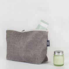 Herringbone Linen Travel / Big Cosmetic Bag