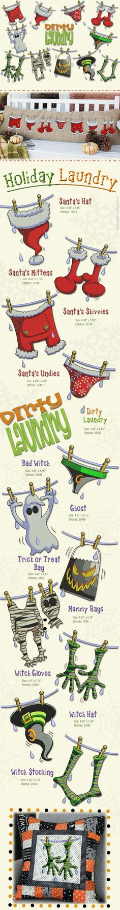 Great designs illustrated by Steve Gray, our Holiday laundry is one of our best seller collection, Santa clothe is drying on the line, so he can be ready for the holidays, and even the Witch from Halloween is also doing some laundry...... Enjoy