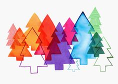 Overlapping Christmas Trees by Margaret Berg