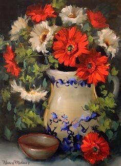 Beautiful !!    Summer Gerbera Daisies by Floral Artist Nancy Medina, painting by artist Nancy Medina