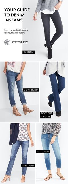"""My Jean fit- Skinny, but they often land short which works with the correct shoe! Maybe try a 30"""" or 32"""" inseam so I can cuff AND Boot Cut or Flare accents my waist and thighs and works great over a boot. The catch is tight to the knee then flair for my perfect fit. If I love the jean, I will alter to make them do what I want! - Inseam MUST be a 34 or longer for the perfect just hit the ground fit!"""