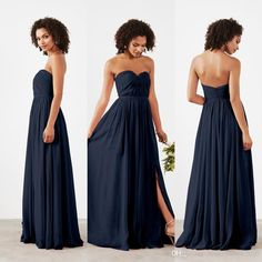 Sexy Long Chiffon Dark Navy Blue Bridesmaid Dresses 2017 Sweetheart Ruched Country Bridesmaids Dress With Sexy High Slit Wedding Party Gowns Bridesmaid Dresses Royal Blue Bridesmaid Dresses Bridesmaids Dress Online with $99.43/Piece on Fashionhouse2020's Store | DHgate.com