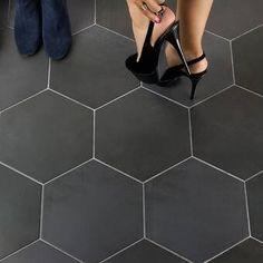 Ivy Hill Tile Langston Hexagon x Porcelain Field Tile in Dark Gray Ceramic Subway Tile, Glass Subway Tile, Ceramic Floor Tiles, Stone Mosaic Tile, Mosaic Wall, Marble Mosaic, Hex Tile, Wall And Floor Tiles, Wall Tiles