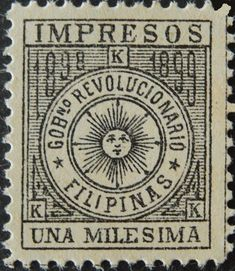 When the Filipinos rose in revolt in 1898 against Spain, their Revolutionary Government issued its own postage stamps. Vintage Advertising Posters, Vintage Advertisements, Vintage Posters, Vintage Stamps, Logo Vintage, Filipino Tribal, Filipino Culture, Painting Words, Cute Poster