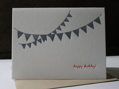 Happy Birthday Letterpress card - Blue Flag Banner ~ Handmade ~ FREE shipping within the US ~ on Etsy, $6.00