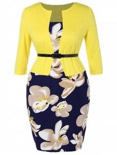 Plus Size Mid Length Pencil Peplum Dress - Purplish Blue