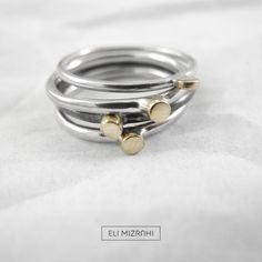 silver 925 and 14K rings by Eli Mizrahi Jewelry Studio