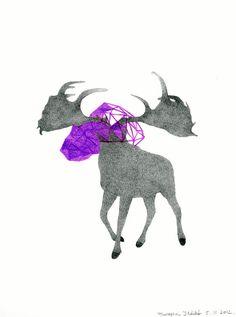 Giant Deer  Original Drawing  Purple and Pencil by DoubleFoxStudio, $68.00