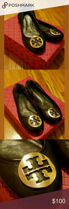 100.00 Pre owned leather ballet flat with silver medallion. Used only once.  Leather upper with signature logo medallion. Round toe. Elasticized heel. Leather lining. Rubber sole. Padded insole. Imported. - Color: Black - Size: 7.5 Tory Burch Shoes Flats & Loafers