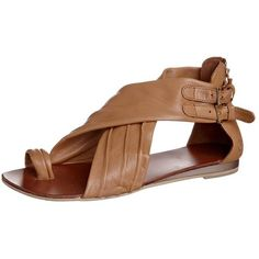 Bronx Sandals ($38) ❤ liked on Polyvore featuring shoes, sandals, flats, brown, ankle cuff sandals, women's footwear, flats sandals, brown leather sandals, brown leather flats and genuine leather shoes