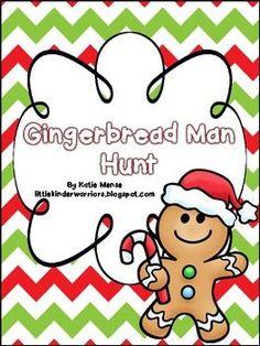 FREEBIE!  Gingerbread Man School Hunt -  PreK, Kinder, First, Second Grades