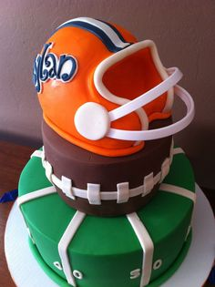 Football Birthday Cake My client sent me a similar picture off Pinterest that she asked me to make for her son's 1st birthday in...