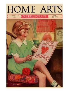 Art Print: Poster of Little Girl Sews a Valentine by Home Arts : 24x18in
