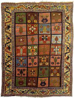 "Alberto Levi Gallery  rug with garden design bakhtiari tribe chahar mahal valley west persia circa 1870 213 x 164 cm (7' x 5'5"")"