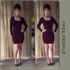 FREE PEOPLE NWT DRESS Body hugging long sleeve dress in Very Berry black & maroon. Extra long sleeves, round neck & pattern stitch fabric with stretch. Not much else to say about this dress because its very basic as shown in the photo. Free People Dresses Mini