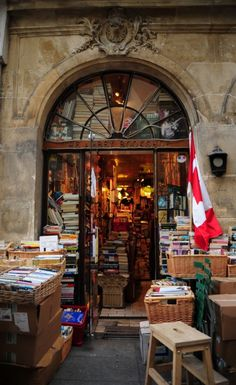 The Abbey Bookstore, Paris, France    Charming and nostalgic, this Canadian, English-language bookstore is your off-the-beaten path alternative. Beautiful books piled haphazardly to the ceiling, warm lighting, jazz music playing in the background– you can easily spend an afternoon cozying up with an old treasure you found that tumbled from a shelf. The little-known neighborhood gem is just a few blocks from Shakespeare & Co. The Abbey Bookshop, 29, Rue de la Parcheminerie, 75005 Paris