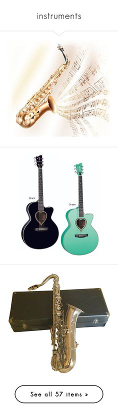 """""""instruments"""" by pokeasaurousrex ❤ liked on Polyvore featuring guitars, music, instruments, accessories, stuff, filler, band, drums, backgrounds and hobbies"""
