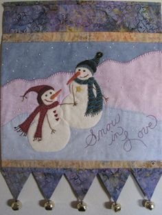 Snow In Love is another Woolin Rouge design produced by Bigfork Bay Cotton Company. Traci Marvel drew the design one winter day while with her husband and I brought it to life in wool and cotton. Christmas Arts And Crafts, Christmas Fun, Christmas Crafts, Applique Wall Hanging, Quilted Wall Hangings, Applique Quilts, Patchwork Quilting, Applique Patterns, Quilting Ideas